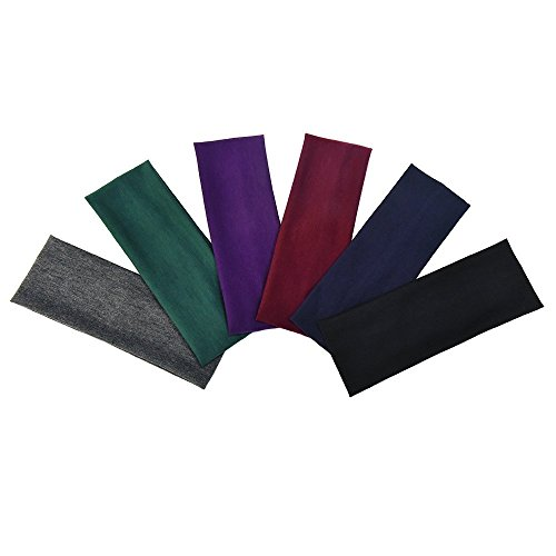 eBoot 6 Pieces Stretch Elastic Yoga Cotton Headbands for Teens and Adults from eBoot