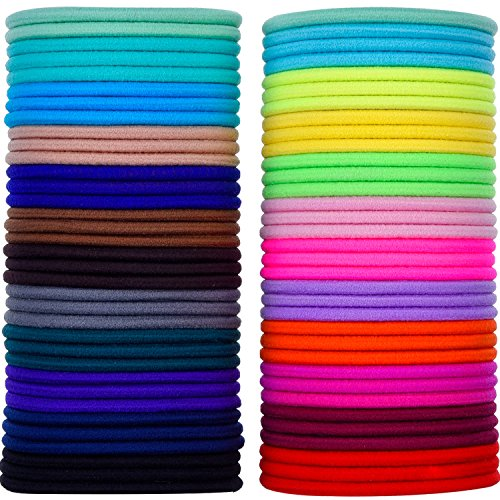 69 Pieces 3mm Multicolor Elastic Hair Bands Hair Tie No Metal Gentle Elastics from eBoot