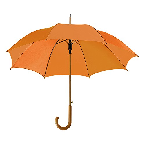 "eBuyGB Automatic Classic Wooden Crook Handle Folding Umbrella 41.5"" (Orange) from eBuyGB"