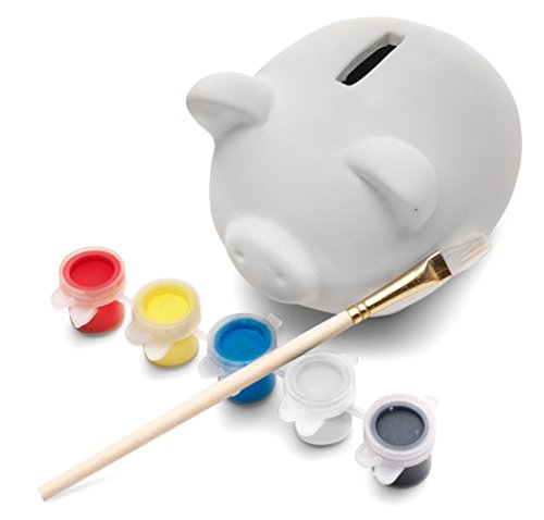 eBuyGB Paint Your Own Pottery Piggy Bank/Money Box, Ceramic, White (Pack of 7) from eBuyGB