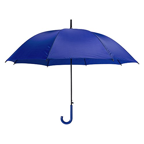 eBuyGB Coloured Automatic Plastic Crook Handle Brolly Stick Umbrella, 107 cm, Blue from eBuyGB