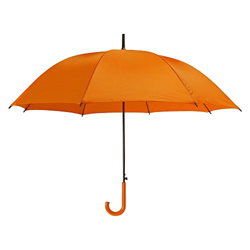 eBuyGB Coloured Automatic Plastic Crook Handle Brolly Stick Umbrella, 107 cm, Orange from eBuyGB