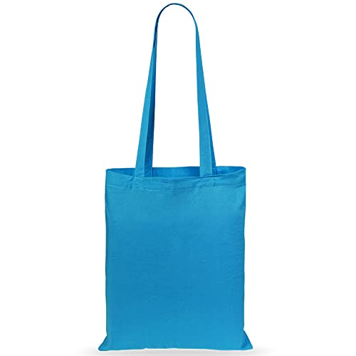 eBuyGB Pack of 10 Cotton Shopping Canvas and Beach Tote Bag 42 cm, Light Blue from eBuyGB