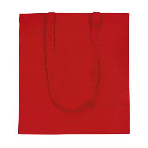 eBuyGB Pack of 10 Cotton Shopping Canvas and Beach Tote Bag 42 cm, Red from eBuyGB