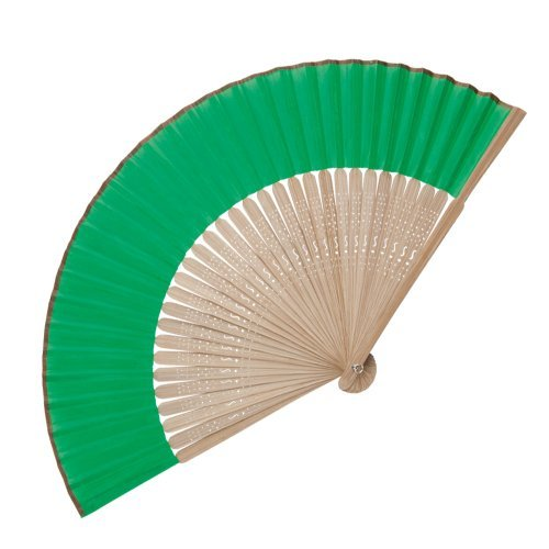 eBuyGB Pack of 10 Handheld Wooden Bamboo Fan, Wedding Accessory and Favour, Green from eBuyGB