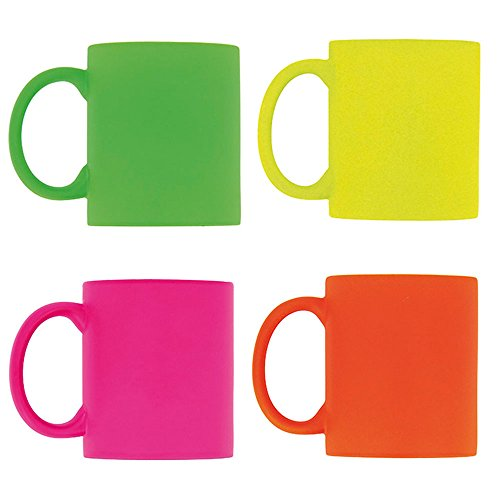 eBuyGB Pack of 4 Bright Fluorescent/Neon Mug for Tea and Coffee, Ceramic, Mixed, 310ml from eBuyGB
