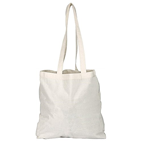 eBuyGB Pack of 5 Cotton Shopper Canvas & Beach Tote Bag, 42 cm, Beige from eBuyGB