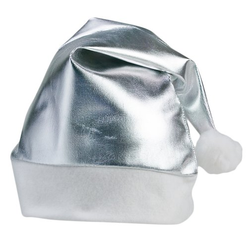eBuyGB Pack of 6 Adults Unisex Festive Christmas Santa Hat (Silver) from eBuyGB