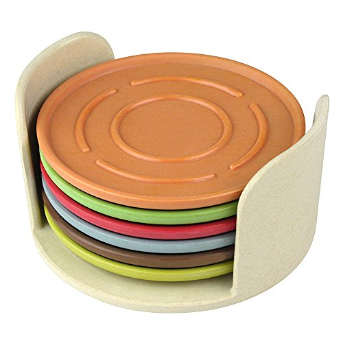 eBuyGB Set of 6 Stackable Eco-Friendly Coaster Set, Modern Cafe/Home, Bamboo, Multi-Colour from eBuyGB