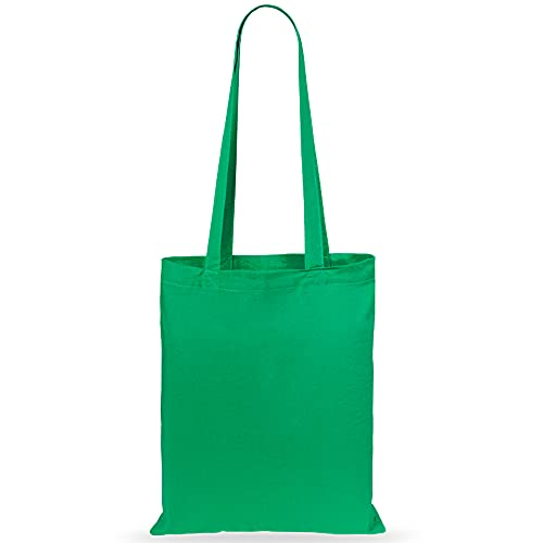 eBuyGB Shopping Tote Shoulder Bag, 100% Cotton, Green from eBuyGB