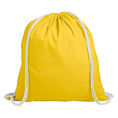 eBuyGB Pack of 10 Children's Cotton Drawstring Rucksack - Gym, Swim, Sports, PE, Book Bag, Yellow from eBuyGB