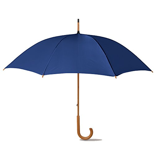 "eBuyGB Manual Wooden Crook Handle Classic Umbrella, Blue, 41.5"" from eBuyGB"
