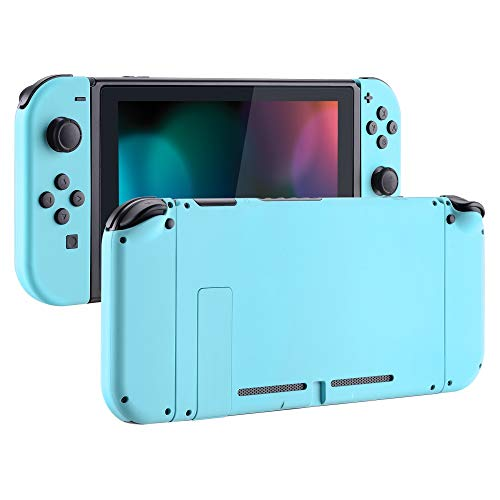 eXtremeRate Soft Touch Grip Back Plate for Nintendo Switch Console, NS Joycon Handheld Controller Housing with Full Set Buttons, DIY Replacement Shell for Nintendo Switch - Heaven Blue from eXtremeRate