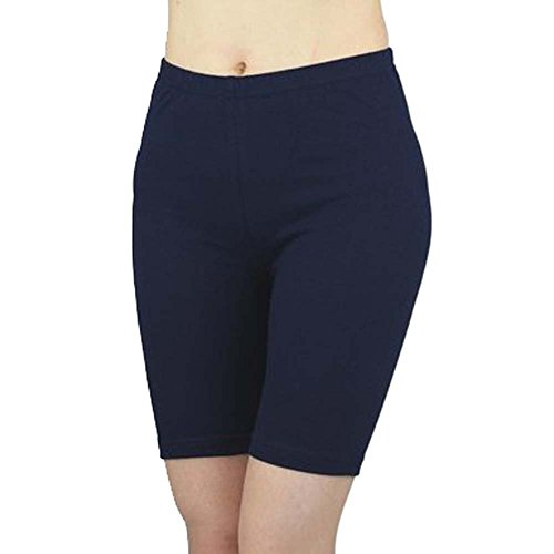ELEGANCE LADIES CYCLING SHORTS LYCRA STRETCHY COTTON ABOVE KNEE ACTIVE SPORT EVERYDAY SHORT LEGGING(GIFT) (Large UK 14 (40), Navy) from elegance1234