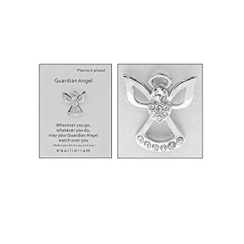 Equilibrium Guardian Angel Brooch Pin, Special Message Words, Platinum Plated from equilibrium