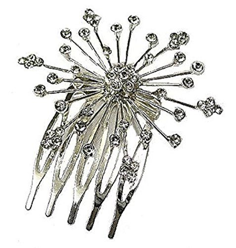 Crystal Silver Flower Hair Comb Tiara Slide Side Fascinator Bridal Wedding Bridesmaid Accessories Jewellery from fashionjewellery4u