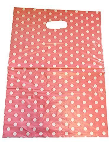 Fat-catz-copy-catz 45+ bags per pack quality Fashion animal, leopard, circles, flowers, polka dots print 25cmx25cm Plastic Carrier Bags for shops, markets, party gift loot bags (Pink Spotted) from Fat-catz-copy-catz