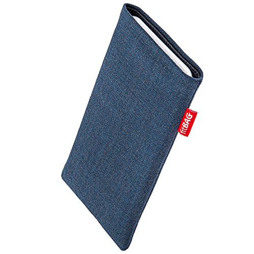 fitBAG Jive Blue custom tailored sleeve for Apple iPhone 6 / 6S / 7 | Made in Germany | Fine suit fabric pouch case cover with MicroFibre lining for display cleaning from fitBAG