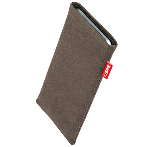 fitBAG Rock Taupe custom tailored sleeve for Apple iPhone 8 | Made in Germany | Fine suit fabric pouch case cover with MicroFibre lining for display cleaning from fitBAG