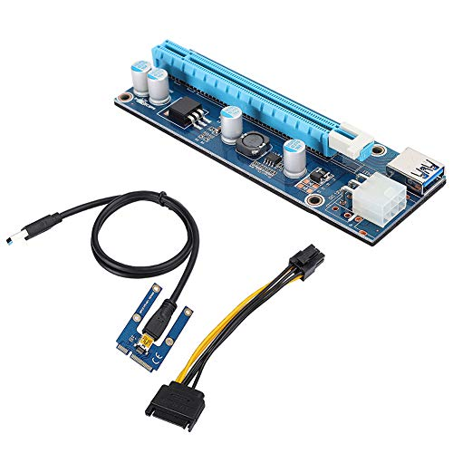 Fosa Mini PCI-E Express 16x Extender Riser Adapter 0.6m USB 3.0 Riser Cable Powered Riser Adapter Card with SATA Power Cord for Video Card Mining (6Pin, 1x to 16x Black) from fosa
