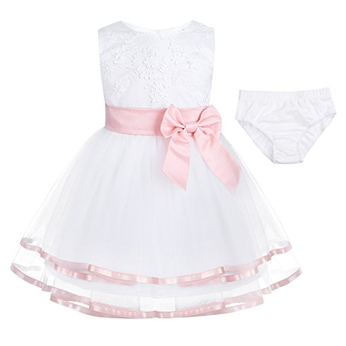 Freebily Infant Baby Girls' Embroidered Wedding Flower Girl Dress Newborn Baptism Christening Gowns with Panty (12-18 Months, White Pink with Brief) from Freebily