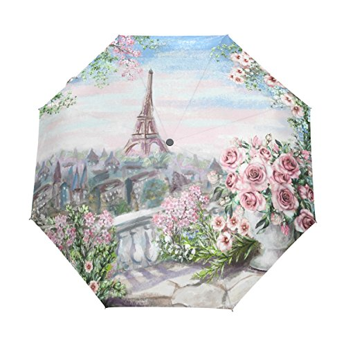 Funnyy Automatic Folding Umbrella Eiffel Tower Paris Flower Rose Auto Open Compact Portable Travel Umbrella for Girls Boys Women from funnyy