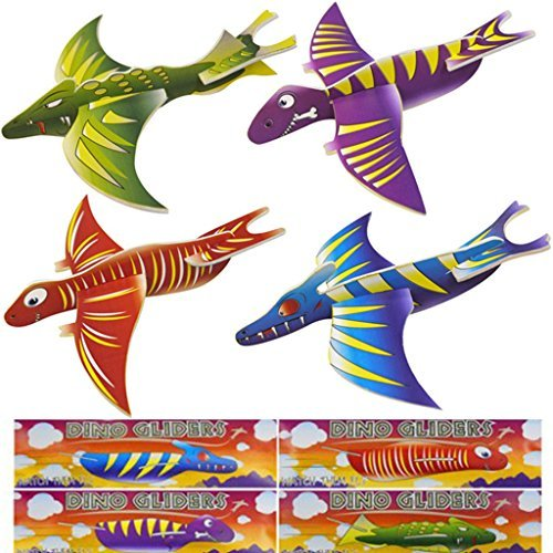 New Style Dino Pack of 12 Dinosaur Flying Glider Planes Kids Gift Party Loot Bag Stocking Fillers Fun from G4GADGET
