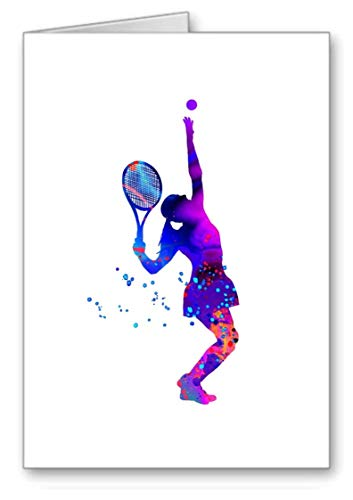 Tennis Serve Colour wash Greetings Card Blank Size 115x170mm from gfc