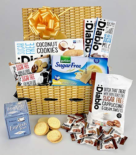 Deluxe Diabetic Hamper No Added Sugar - Coffee Tea Cookies, Sweets Chocolate - Any Occasion Personalise Unique Gift - Female or Male - His Hers from gifthamperz