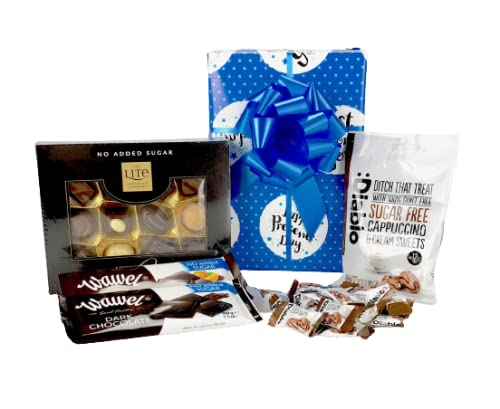 Deluxe Male Themed Diabetic Hamper Box - The Finest Belgian Chocolates & Sugar Free Sweets Vegetarian from gifthamperz