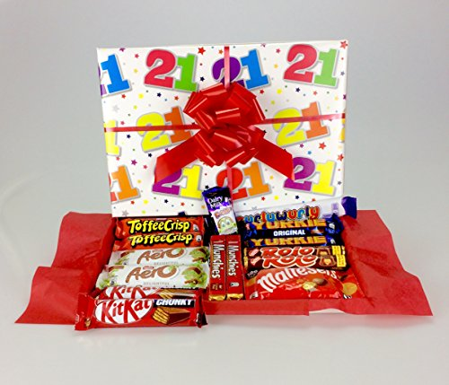 """ Happy 21st Birthday"" - Large his or Hers Chocolate Hamper Box - Filled with Your Favourite Varieties Including Retro Son Daughter Friend Boy Girl Congratulations from gifthamperz"
