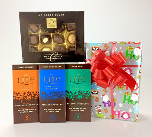 Happy Christmas ! Luxury Diabetic - Gift Wrapped Chocolate & Sweet Hamper Box - Personalise No Added Sugar - Sugar Free - from gifthamperz