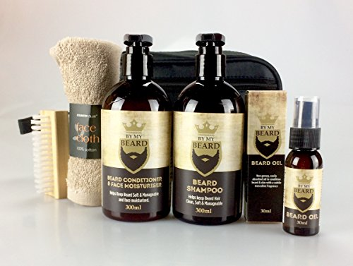 My Beard Hamper Gift Set - Grooming Kit - Great Selection to Include - Shampoo - Moisturizer - Brush Great for - Husband Dad Boyfriend Son Partner Friend from gifthamperz