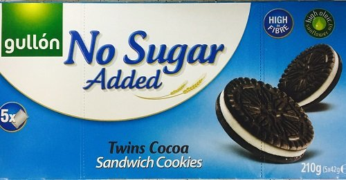 Gullon NO SUGAR ADDED Twin Cocoa Sandwich Cookies 210g (6 pack) from gullon