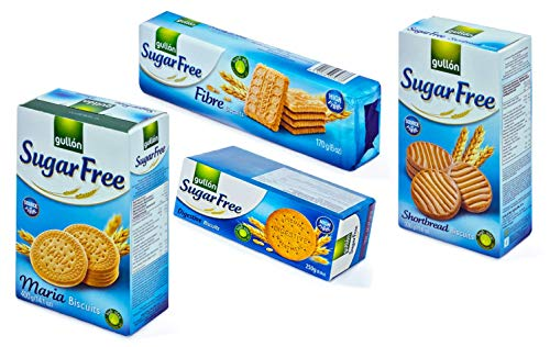 Gullon Sugar Free Biscuits Plain Assortment x 4 Types - Maria, Shortbread, Fibre & Digestives from gullon
