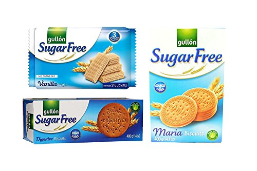 Sugar Free Cookie Biscuits Selection 3 Boxes Vanilla Wafers, Digestives, Maria. Gullon Set 2 from gullon