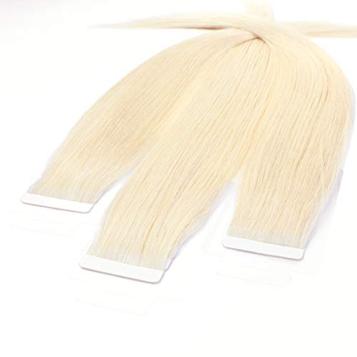 "Hair2Heart 10 x 2.5g Tape Extensions – 16"", colour #60 light blond, straight from hair2heart"