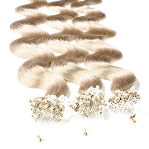 "Hair2Heart 100 x 0.5g Microring Loop Extensions, - 20"", colour #20 Natural Ash, wavy from hair2heart"
