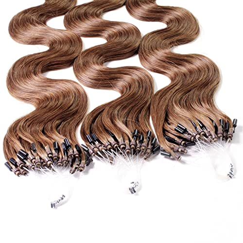 "Hair2Heart 100 x 0.5g Microring Loop Extensions, - 20"", colour #8 chopper brown, wavy from hair2heart"