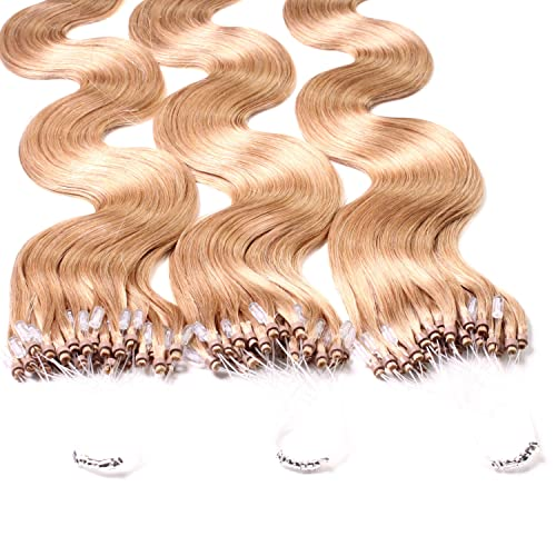 "Hair2Heart 100 x 0.5g Microring Loop Extensions, - 24"", colour #27 medium golden blond, wavy from hair2heart"