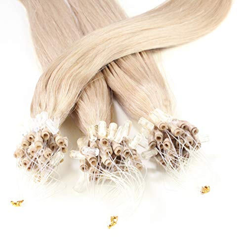 "Hair2Heart 100 x 1g Microring Loop Extensions, - 16"", colour #20 Natural Ash, straight from hair2heart"