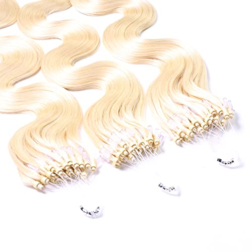 "Hair2Heart 100 x 1g Microring Loop Extensions, - 16"", colour #60 light blond, wavy from hair2heart"