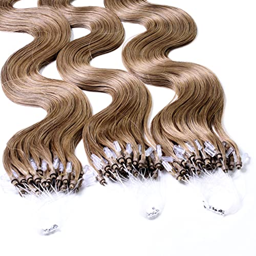 "Hair2Heart 100 x 1g Microring Loop Extensions, - 24"", colour #14 cendre ash blond, wavy from hair2heart"