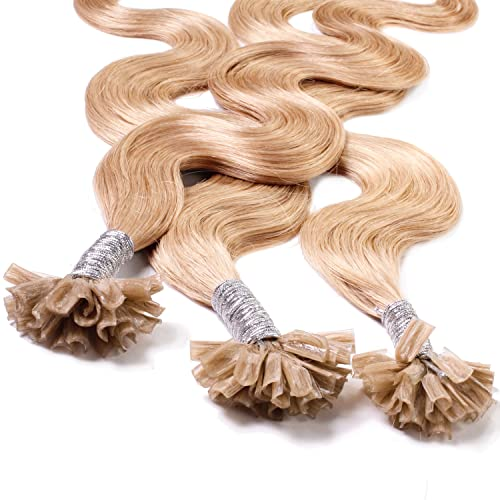 "Hair2Heart 100 x 1g pre-bonded U-tip strands - 16 "", colour #18 dark blond, weavy from hair2heart"