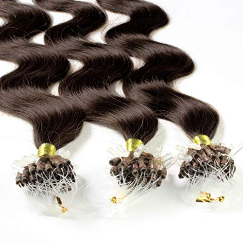 "Hair2Heart 200 x 0.5g Microring Loop Extensions, - 16"", colour #4 darkbrown, wavy from hair2heart"