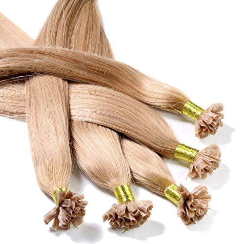 "Hair2Heart 25 x 1g pre-bonded U-tip strands - 20 "", colour #18 dark blond, straight from hair2heart"
