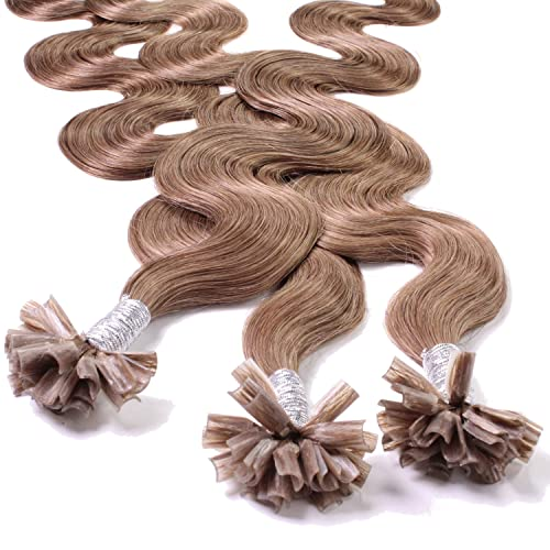 "Hair2Heart 50 x 0.5g pre-bonded U-tip strands - 16 "", colour #10 medium ash brown, weavy from hair2heart"