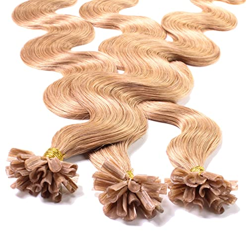 "Hair2Heart 50 x 0.5g pre-bonded U-tip strands - 20 "", colour #27 medium golden blond, weavy from hair2heart"