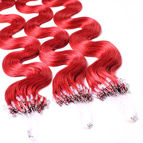 "Hair2Heart 50 x 1g Microring Loop Extensions, - 24"", colour #red, wavy from hair2heart"