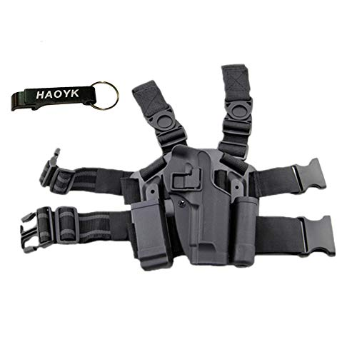 haoYK Adjustable Tactical Airsoft Pistol Drop Leg Holster Bag Thigh Right Leg Holster with Magazine Torch Pouch for M9 M92 Black-Keychain Included from haoYK